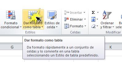 imagen ejemplo del comando Dar formato como tabla en la pestaña de Inicio de Excel 2010.