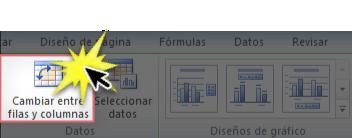 Imagen ejemplo del comando Cambiar entre columnas en la pestaña DIseño de Excel 2010.