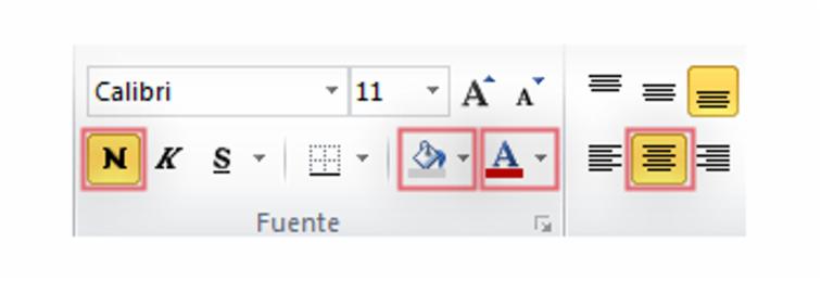 Imagen de las herramientas de formato de texto. Botones Negrilla, Fondo, Color de fuente y Centrar texto seleccionados.