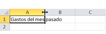 Imagen del cursor al cambiar el tamaño de un fila o columna.