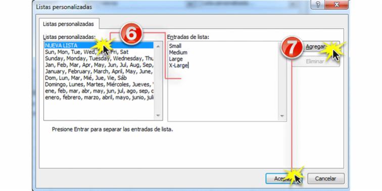 Imagen de los pasos 6 y 7 de cómo ordenar datos por criterios personalizados en Excel 2010.