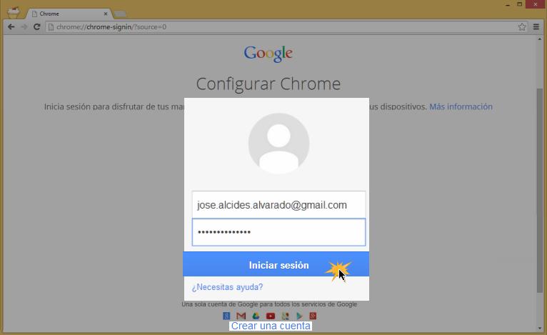 Vista del paso 5 del proceso de registro del usuario nuevo en Google Chrome.