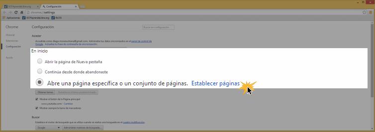 Vista de la opción Abrir una página específica o un conjunto de páginas y Establecer páginas.