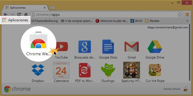 Vista de cómo abrir la Tienda Virtual de Chrome.
