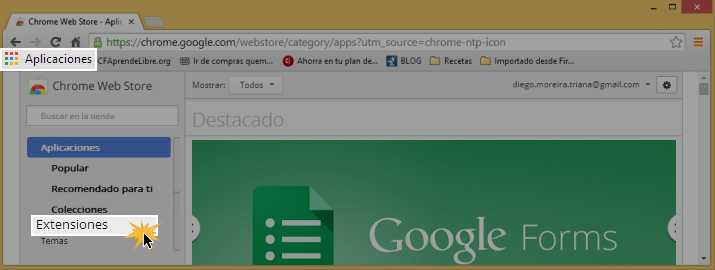 Vista de la opción Extensiones en el menú de la Tienda Virtual de Chrome.