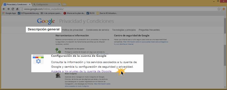Vista de la opción Descripción general y Configuración de la cuenta Google.