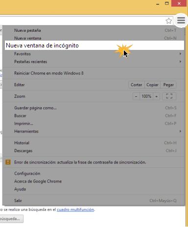 Vista de la opción Nueva ventana de incognito en el menú de configuración
