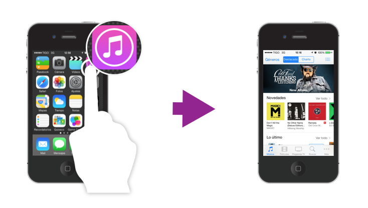Abrir una aplicación de iPhone.