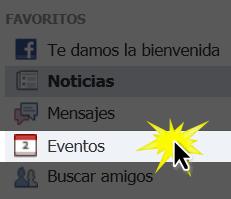 Haz clic en el botón Eventos ubicado en la lista de opciones.