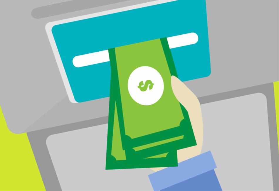 Você pode sacar dinheiro a crédito em caixas eletrônicos.