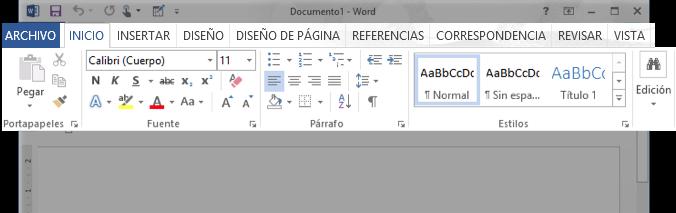 Vista de la Cinta de opciones de Word 2013.