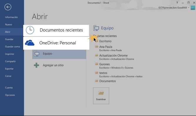 Vista de las opciones Documentos Recientes y OneDrive.