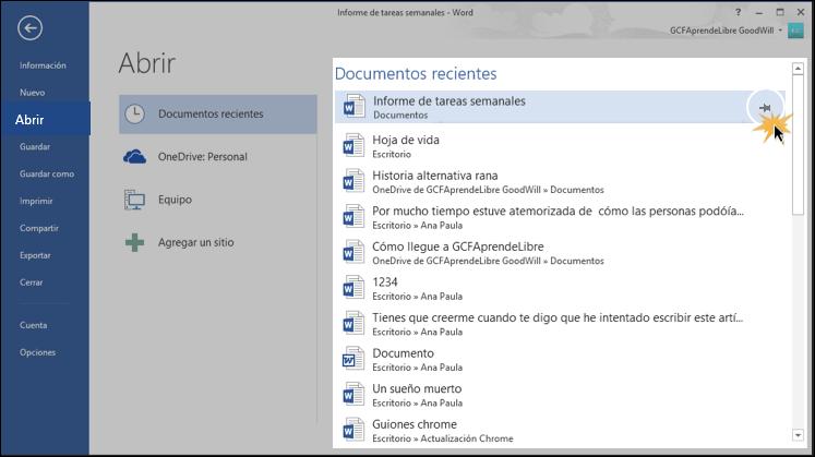 Vista de la lista de documentos recientes y el botón en forma de chinche o chincheta.