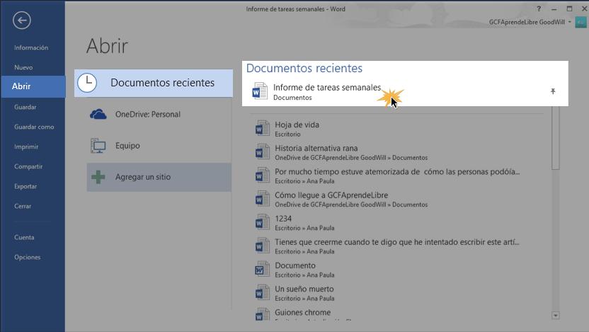 Imagen de pasos para acceder a un documento anclado en Word 2013.