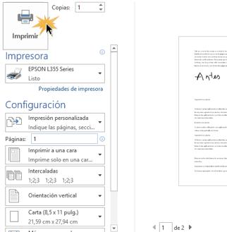 Vista de cómo imprimir un archivo en Word 2013.