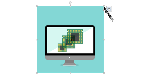 Imagen ejemplo de cómo hacer clic sostenido en una de las esquinas de la imagen y arrastrar el cursor para cambiar el tamaño.