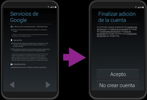 Vista de los pasos finales para la configuración inicial de un quipo con Android.