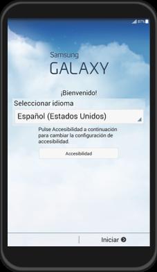 Imagen del primer paso de cómo hacer la configuración inicial en Android.