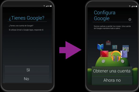 Vista del paso 4 de la configuración inicial de un equipo con sistema operativo Android