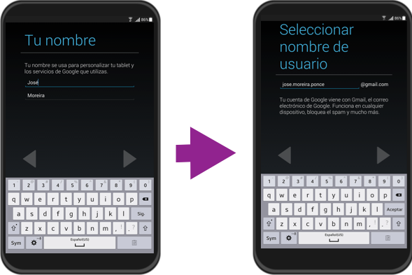 Vista del paso 5 y 6 de la configuración inicial de un equipo con sistema operativo Android.