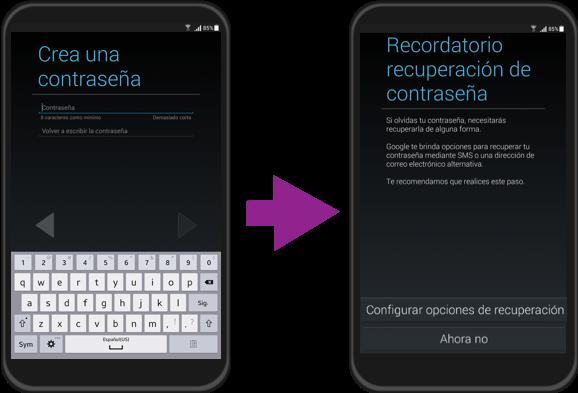Vista del paso 7 y 8 de la configuración inicial de un equipo con sistema operativo Android.