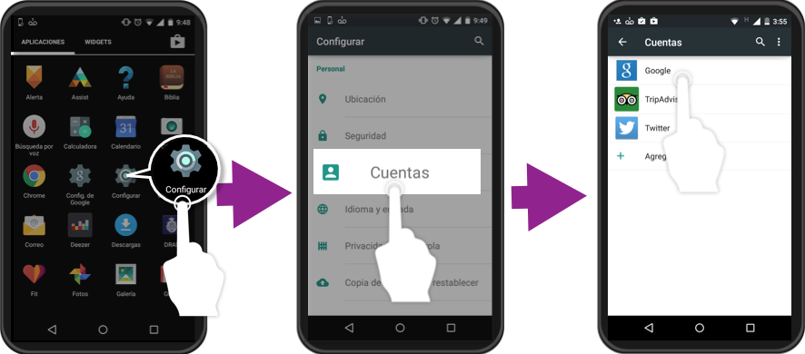 Vista de los primeros 3 pasos para eliminar una cuenta de un teléfono con SO Android.