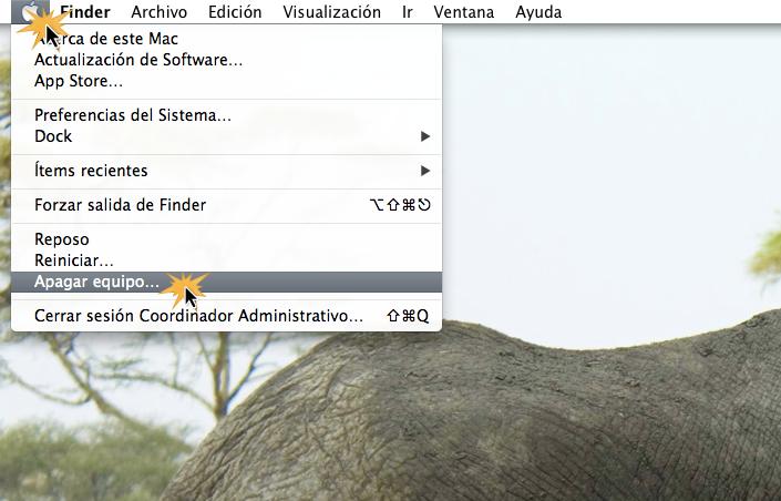 Apagar equipo en Mac OS X.