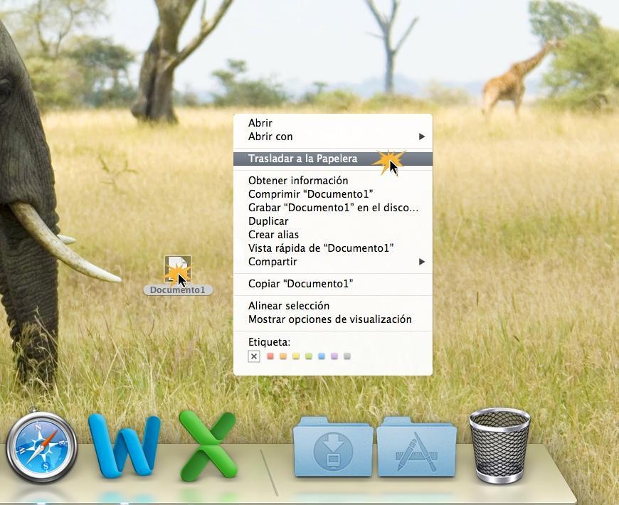 Borrar archivo en Mac OS X.