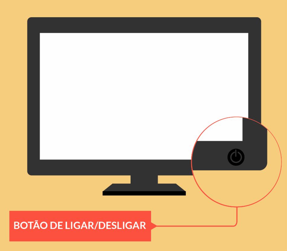 Botão liga / desliga de uma tela ou monitor de um computador desktop