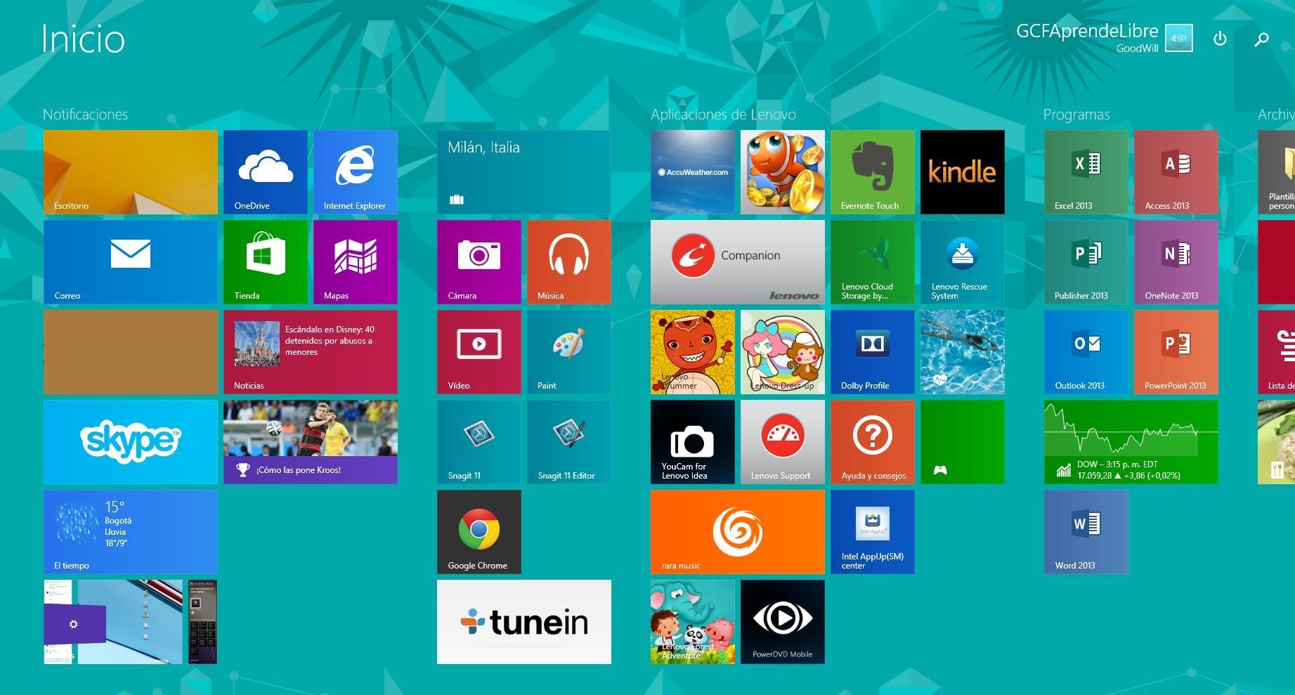 Interfaz gráfica de usuario del sistema operativo Windows 8.