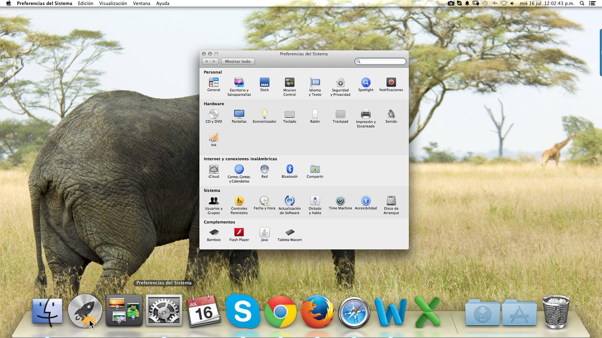 Preferencias del sistema paraahcer ajustes a la configuración en Mac Os X.