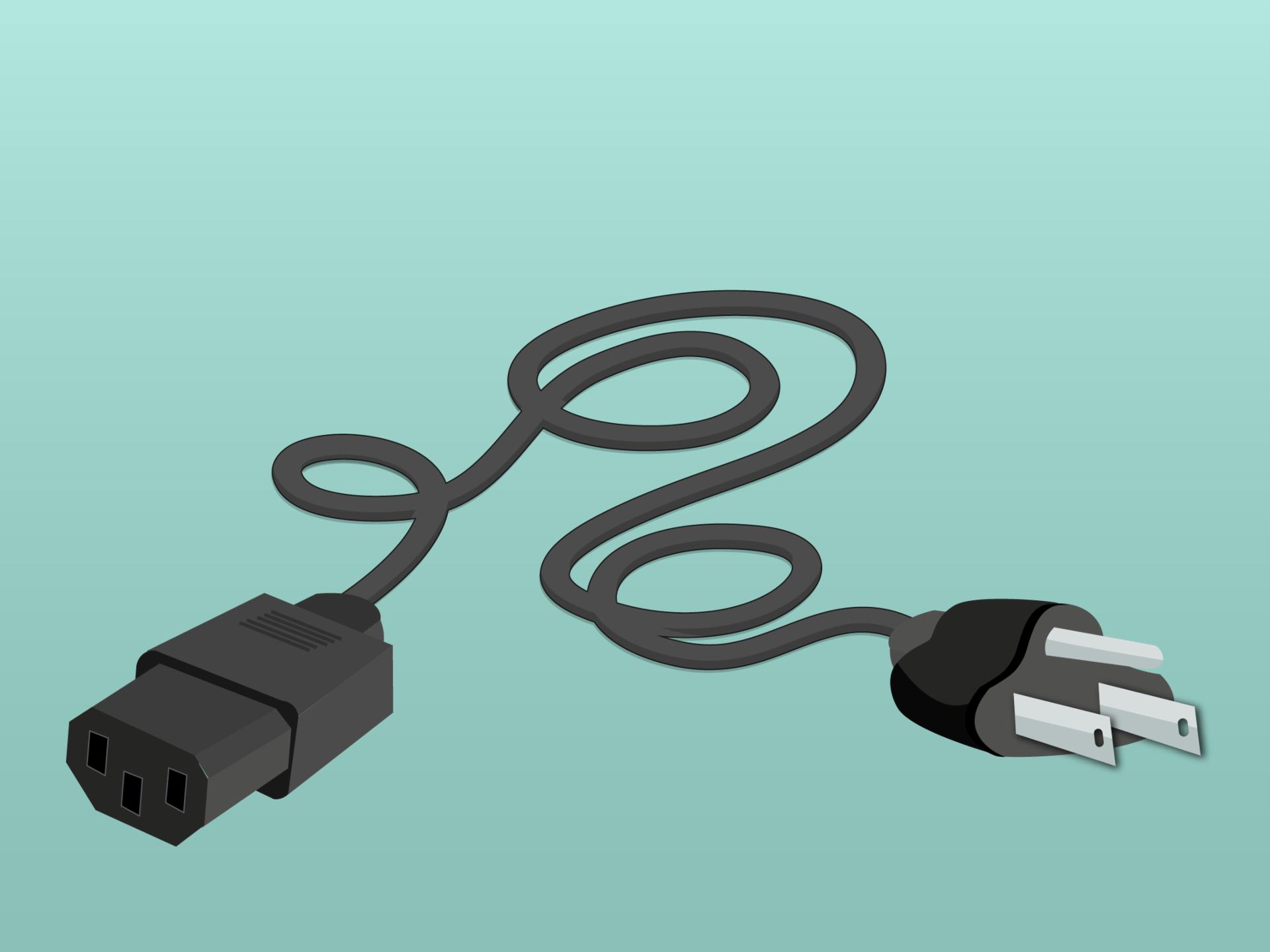 Cable de alimentación de energía eléctrica del enchufe a tu computador.