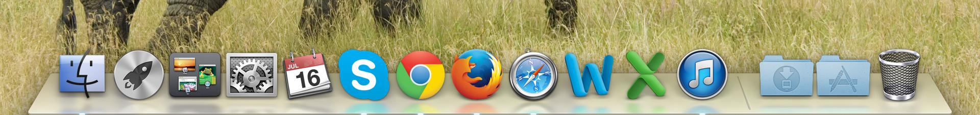 Dock o barra de programas en el sistema operativo Mac OS X.