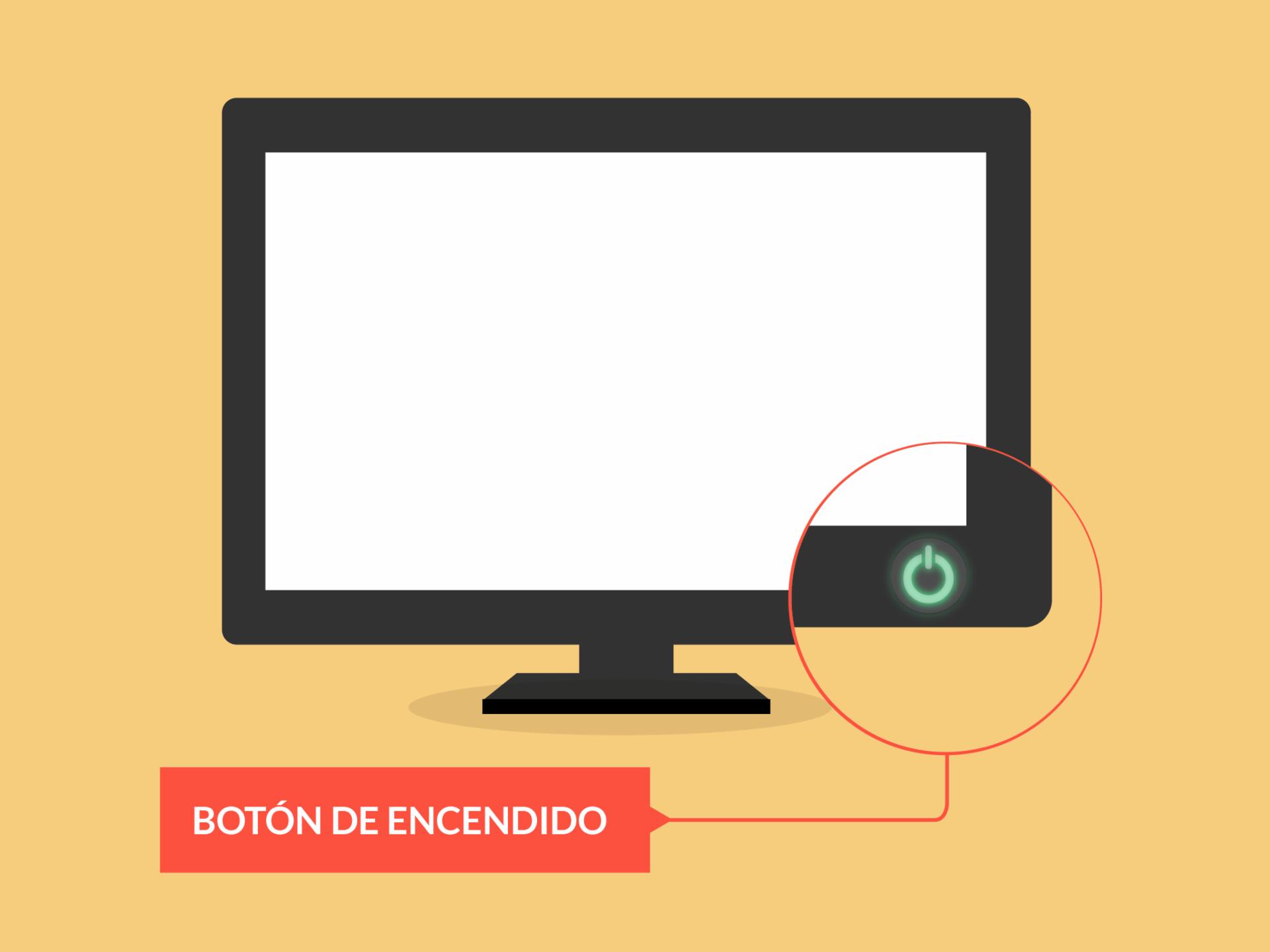 Botón de encendido de una pantalla o monitor de un computador de escritorio.