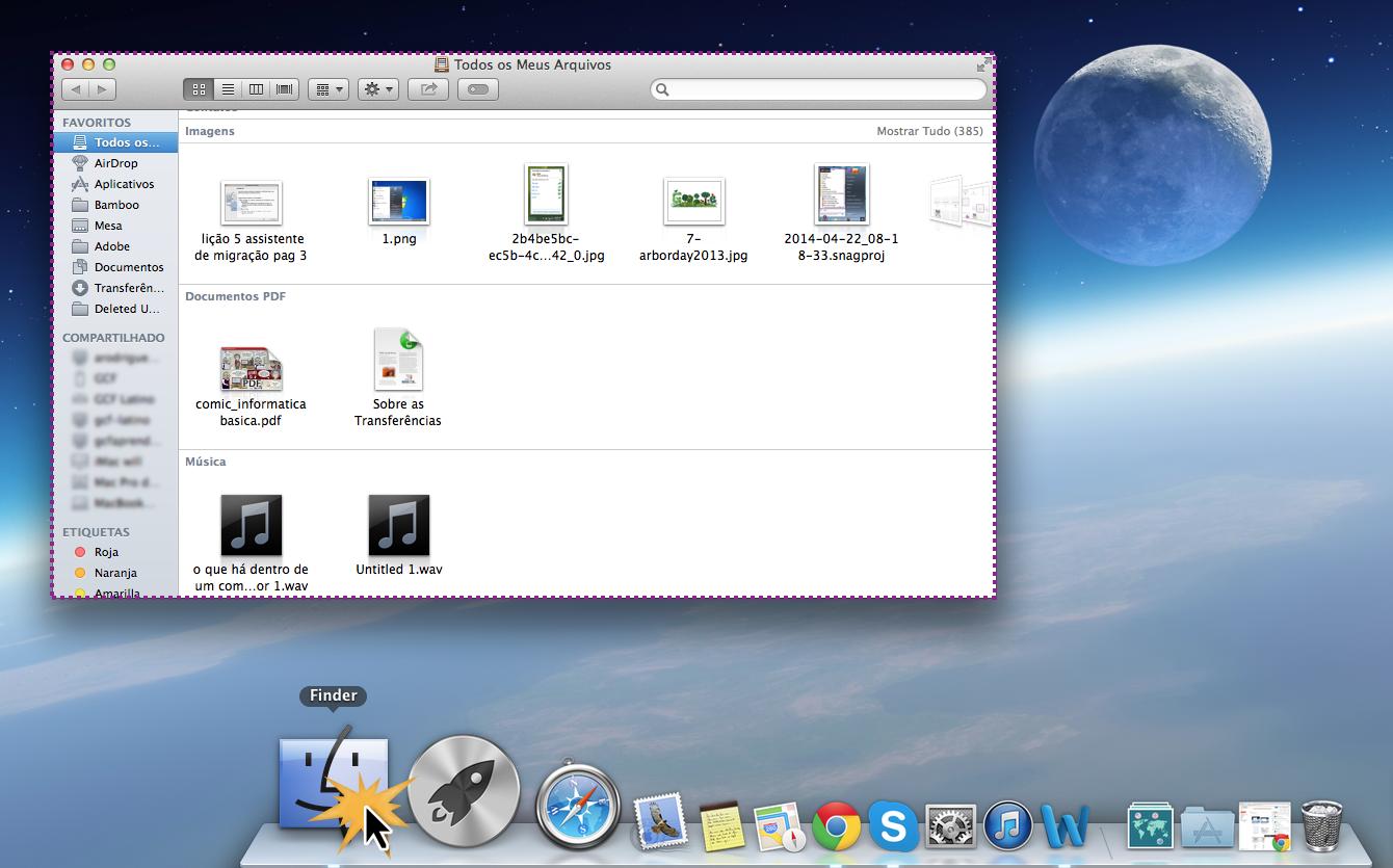 Finder ou explorador de arquivos no sistema operacional Mac OS X