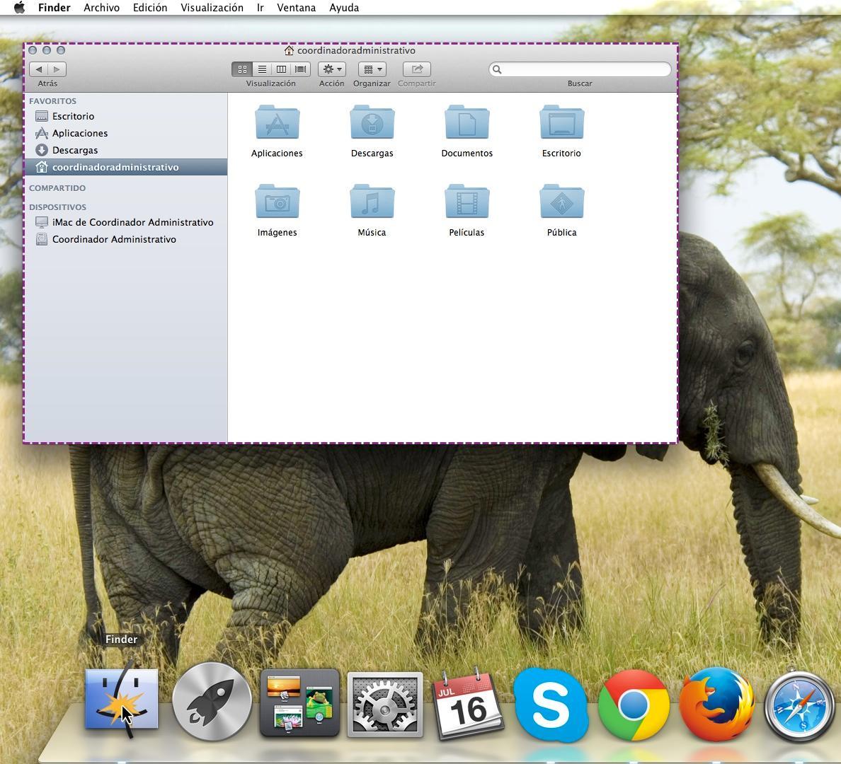 Finder o explorador de archivos en el sistema operativo Mac OS X.