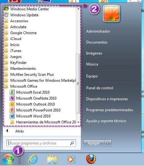 Botón de inicio y menú de programas en Windows