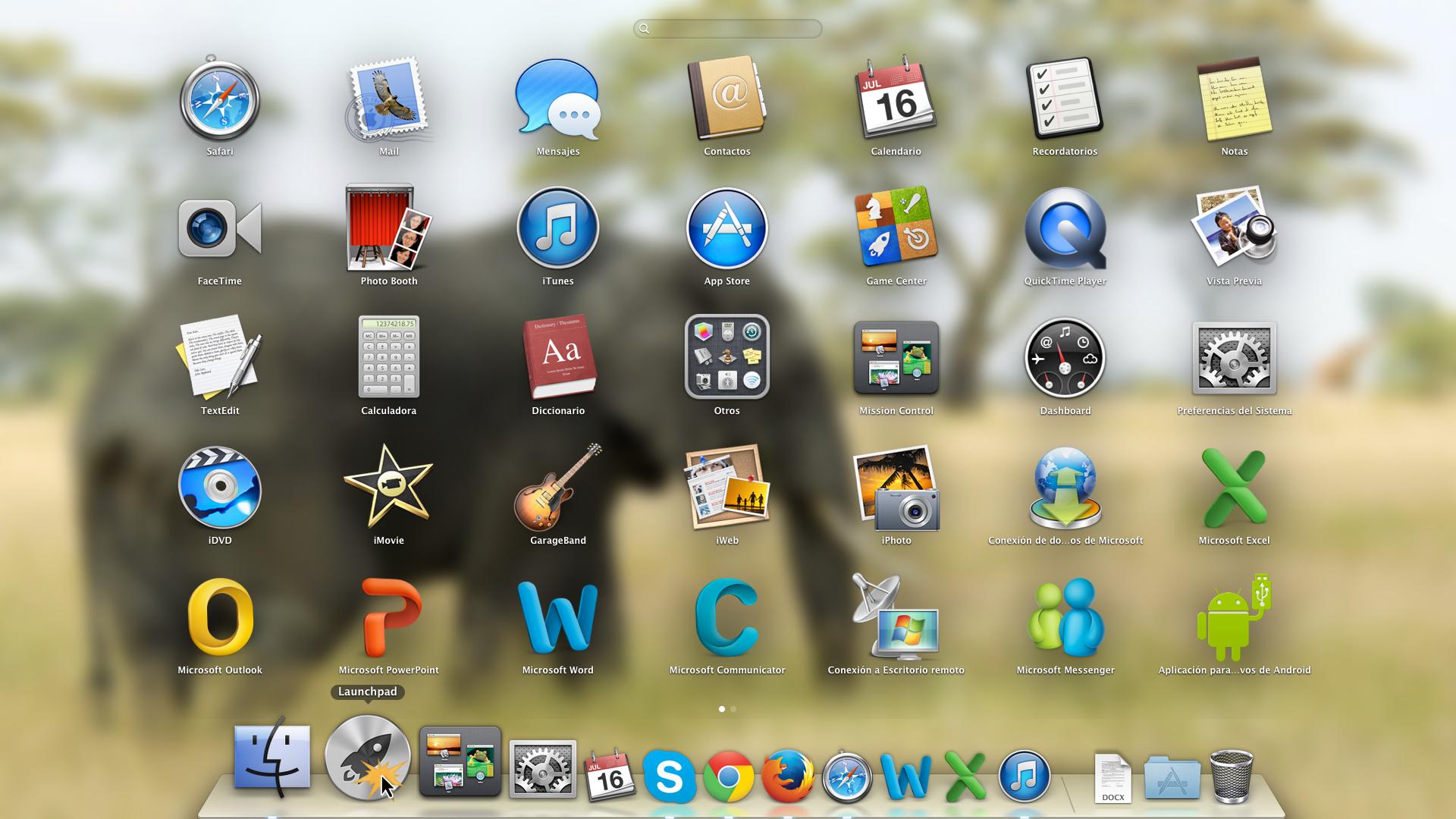 LaunchPad del sistema operativo Mac OS X.