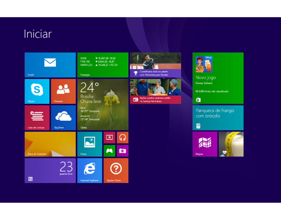 Interface gráfica do usuário do sistema operacional Windows 8
