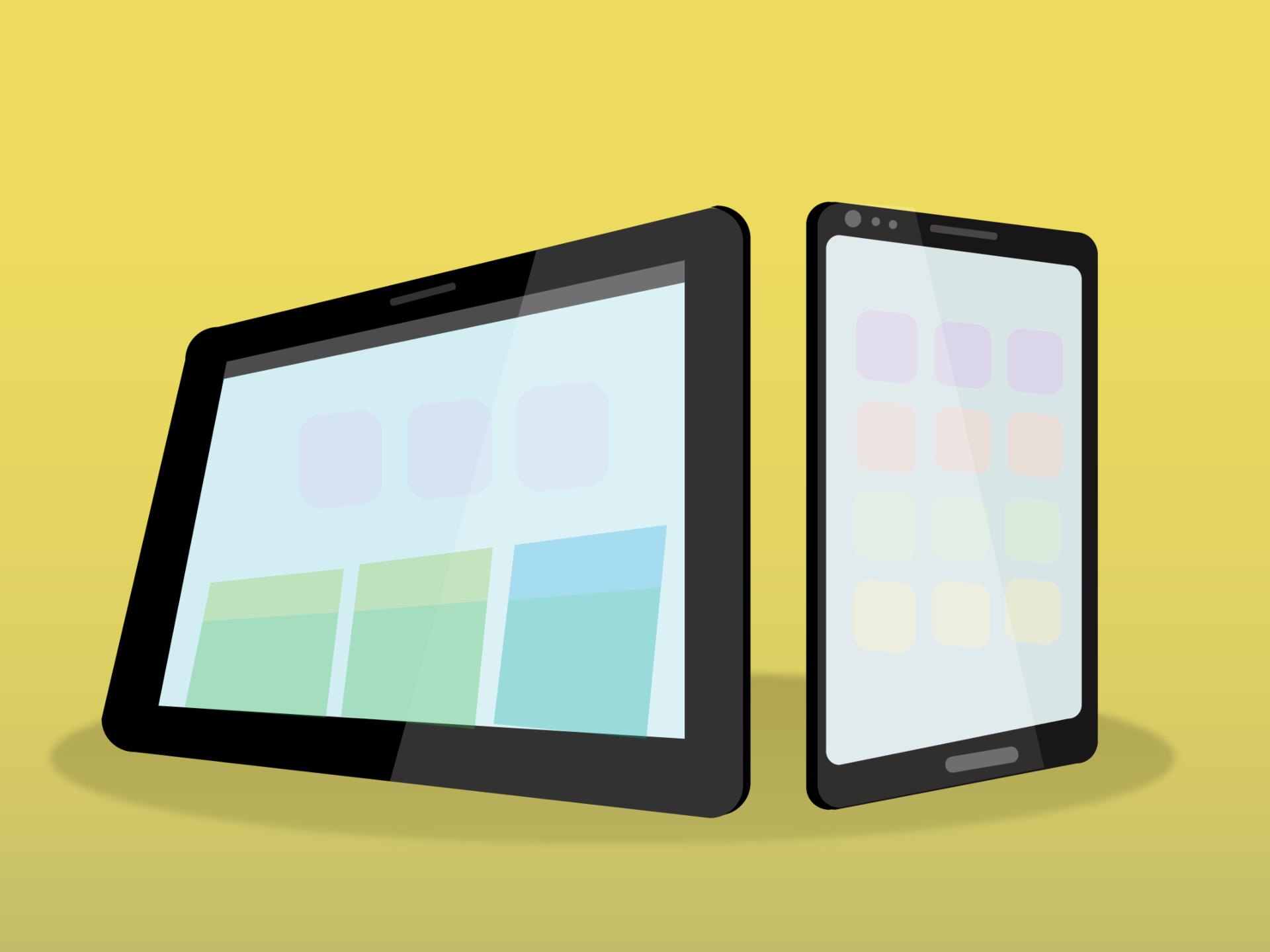 Tablet o tableta y smartphone o teléfono inteligente.