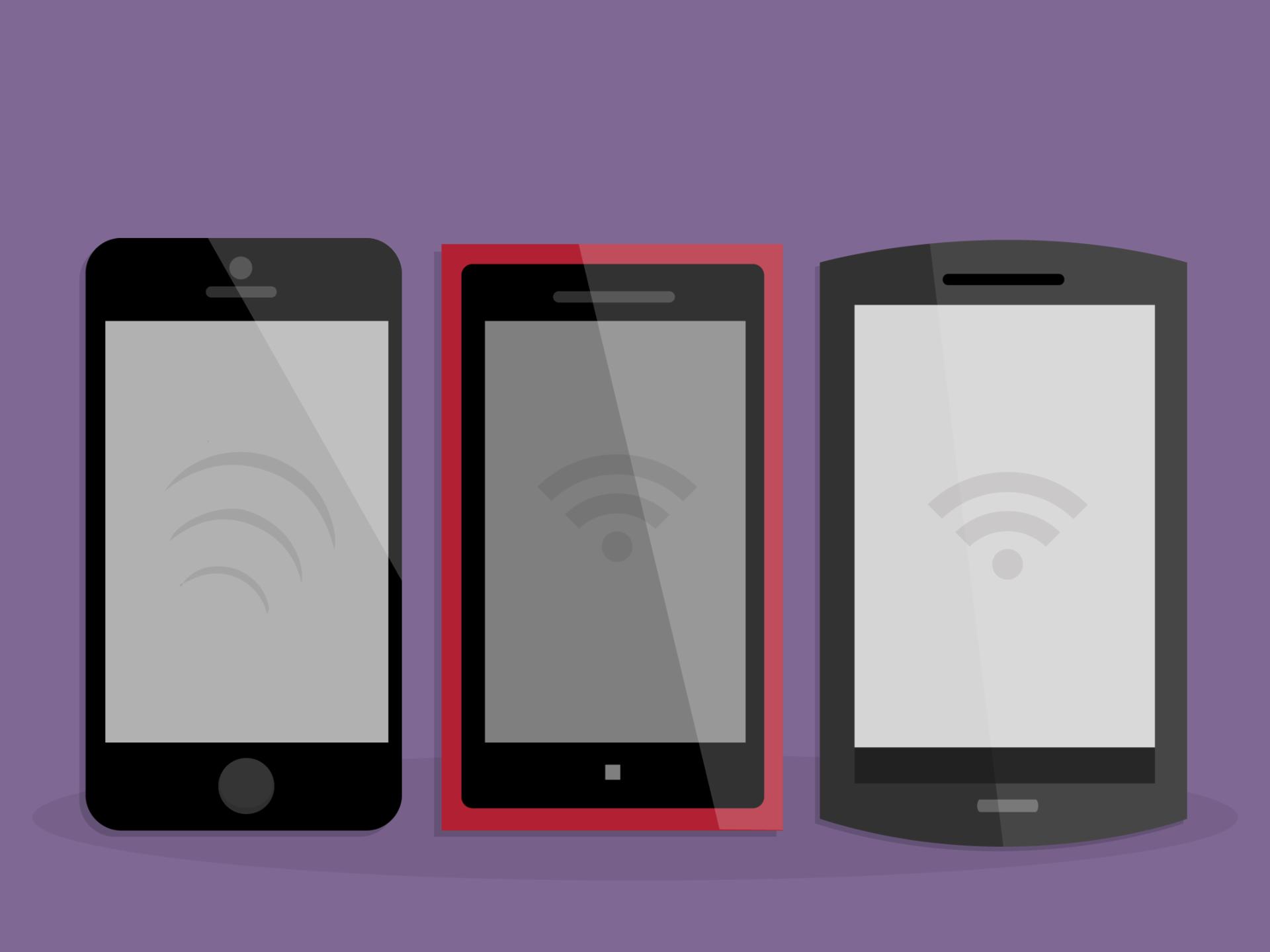 Dispositivos móveis, como smartphones ou telefones inteligentes