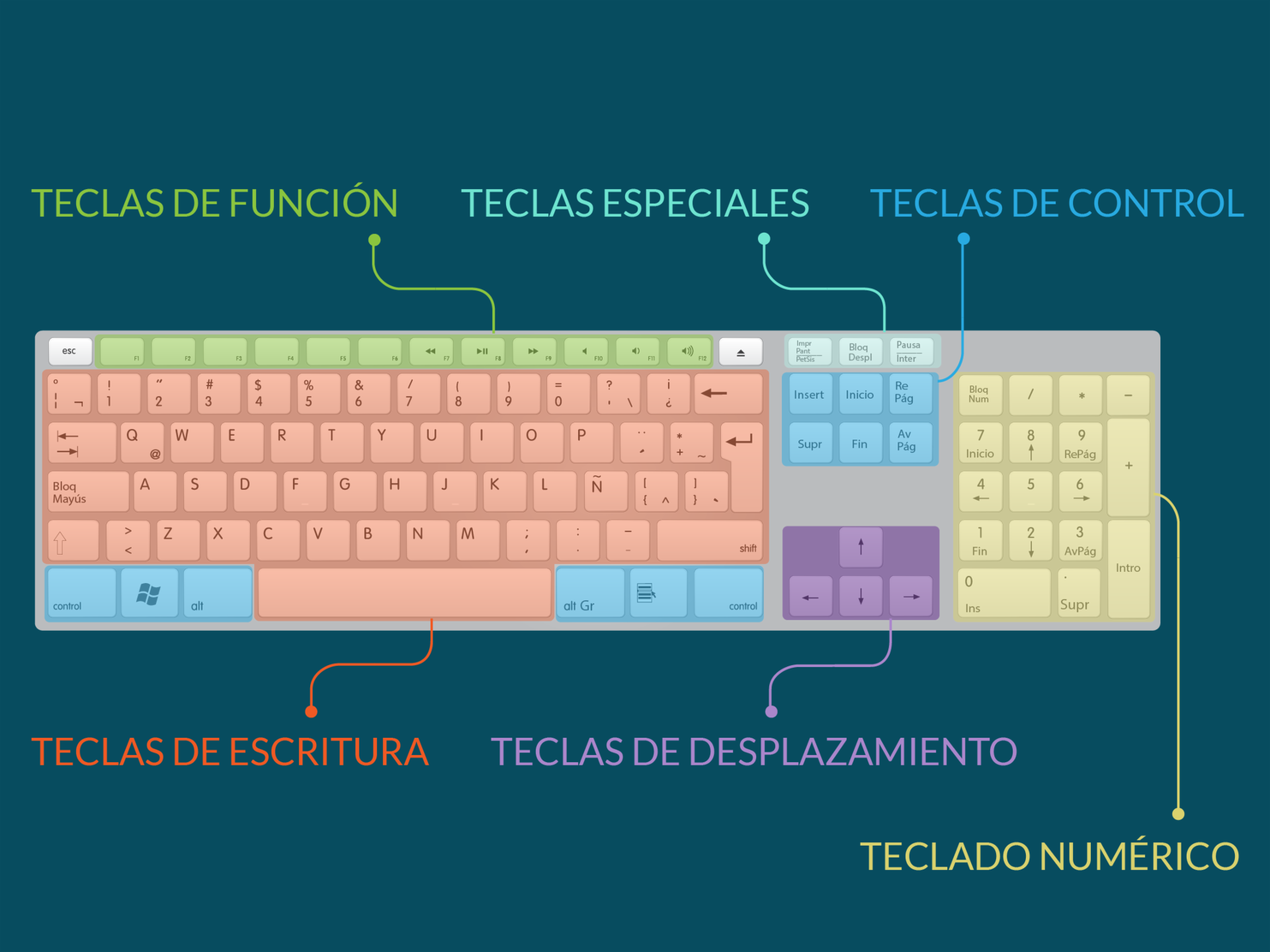 Partes del teclado.
