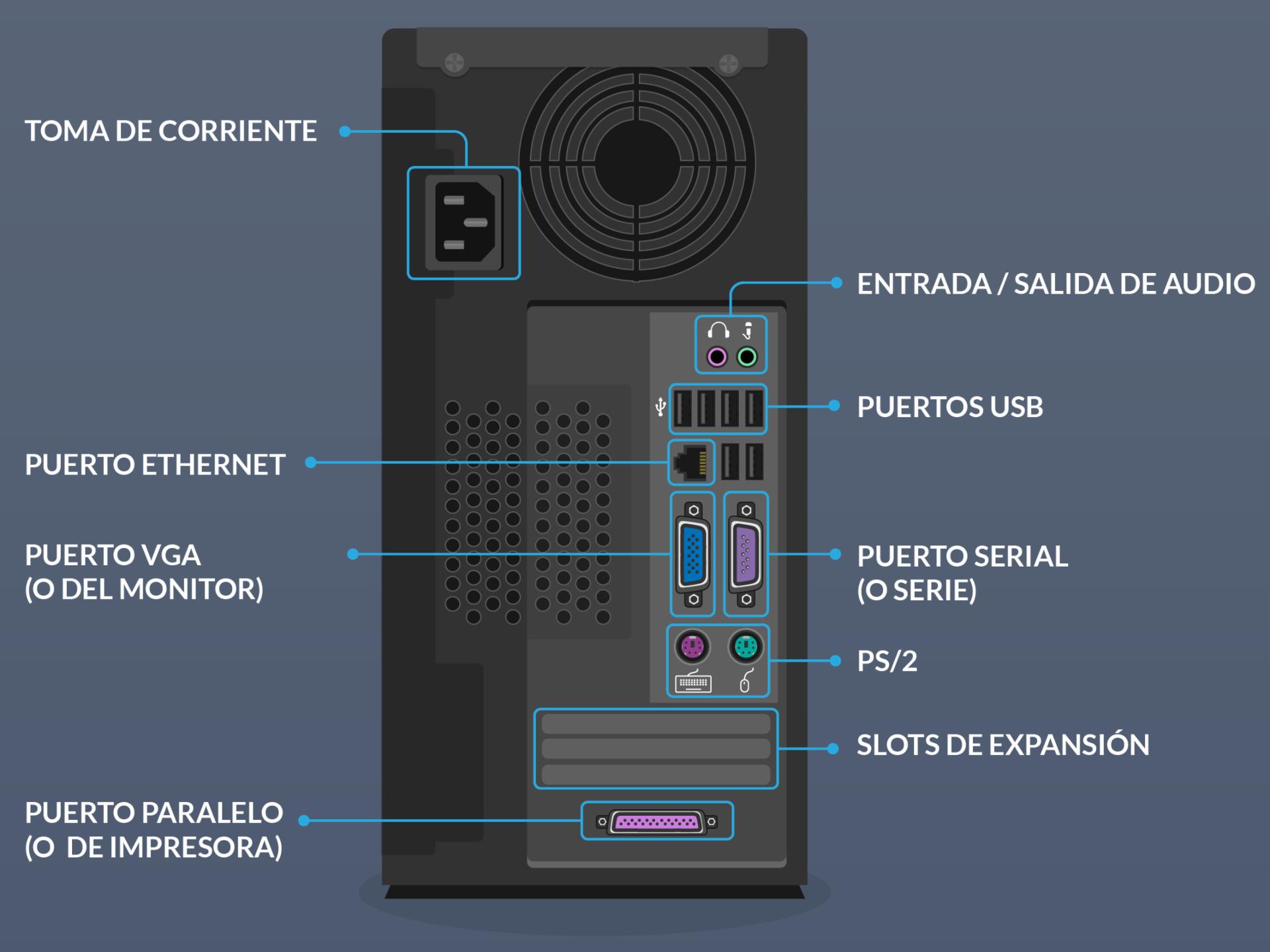 Informática Básica: Parte posterior de la torre