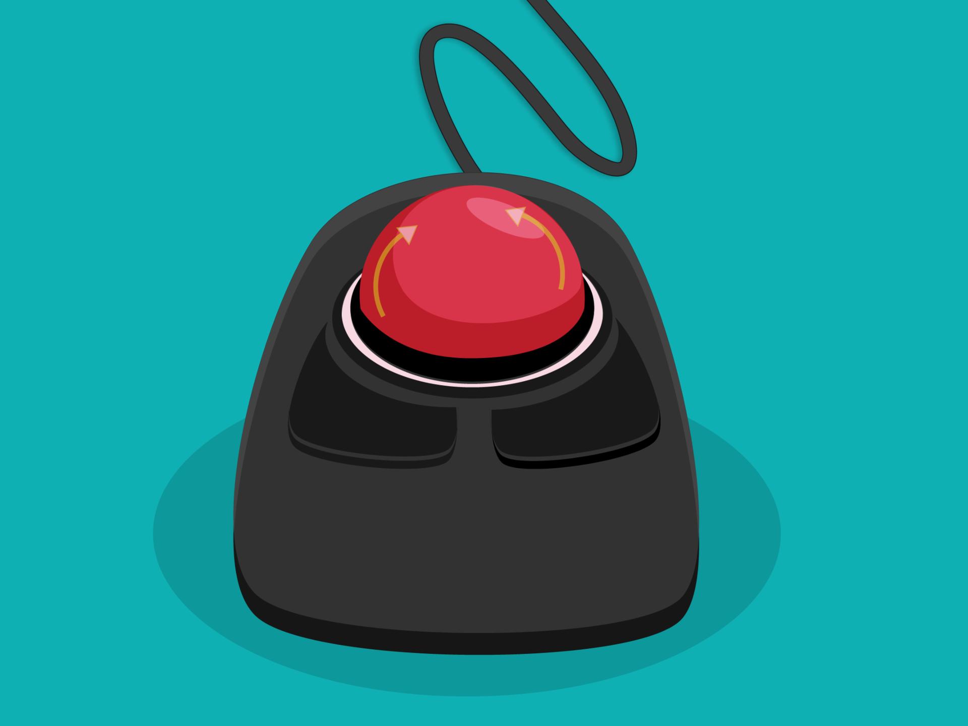 Trackball como dispositivo alterno al mouse o ratón en un computador.