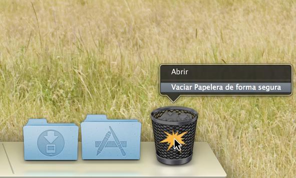 Vaciar la Papelera en Mac OS X.