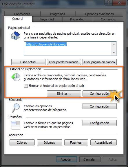 opción configuración historial de exploración