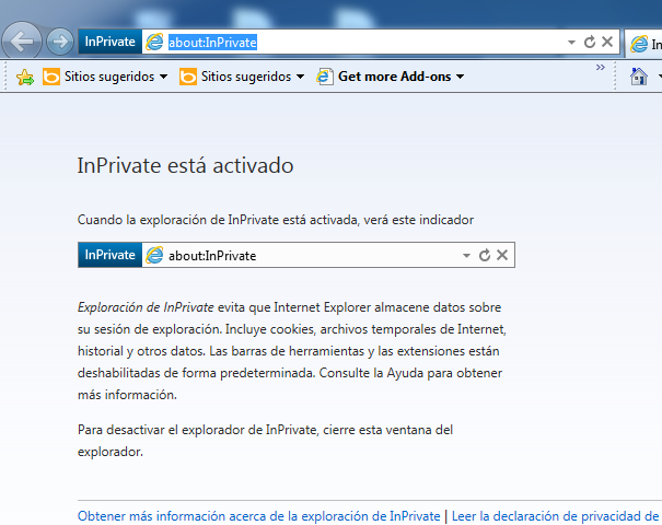 InPrivate activo