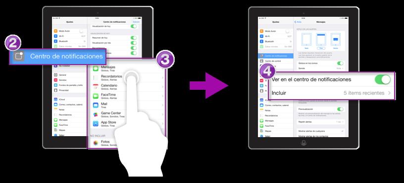 Configurar aplicaciones en el centro de notificaciones