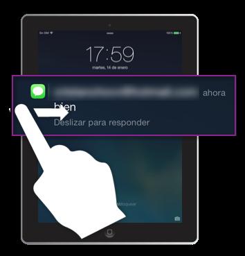Responder una alerta desde la pantalla de bloqueo