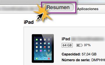 iTunes - Botón Resumen